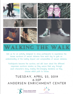 Walking the Walk - In collaboration with the Sexual Assault Center of Child & Family Services @ Andersen Enrichment Center